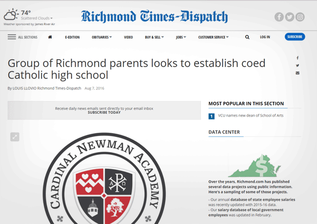 Richmond Times-Dispatch Profiles Cardinal Newman Academy